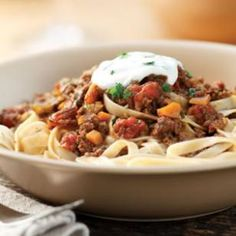 Turkish Pasta with Bison Sauce Recipe - can't wait to make this! Minus yogurt, juice and carrot
