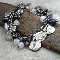 iolit, kamień księżycowy,szafir, czaroit, sodalit - bransoletka / formood / Biżuteria / Bransolety