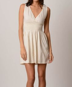 Take a look at this Natural Shirred Surplice Organic Sleeveless Dress on zulily today! Natural simple eleagant $34.99 JOIN TODAY USE THIS LINK Come shop with me at zulily! They have new things every day—it's like a treasure trunk of cute stuff. Membership is free and I think you'll really like it.  https://www.zulily.com/invite/vvartanian929