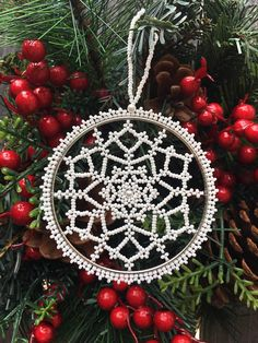 Christmas ornaments-Snowflake Ornament-Beaded Snowflake Ornament-Beaded Snowflake-Christmas decorations-Christmas Gift-Handmade Snowflake-Christmas gifts-New Year Ornaments This snowflake made with white Czech seed beads and a small pearl in the middle. It is just white, as
