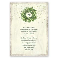 Monogram Wreath Invitation | Invitations By Dawn