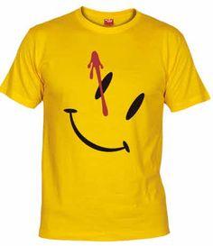 Camiseta Chapa Smiley. Camiseta con el simbolo de la chapa del comediante de los Watchmen con el disparo en la sien.