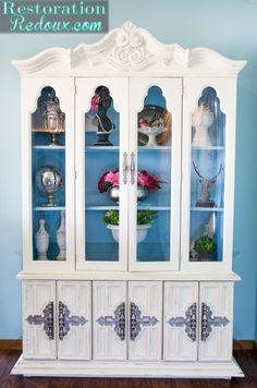 Ivory and Blue Cottage Style Hutch -Restoration Redoux