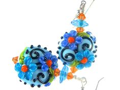 Lampwork Earrings Glass Bead Earrings Lampwork by JadjusJewelry, $36.00