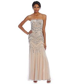 Adrianna Papell Strapless Beaded Gown #Dillards