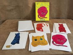 Andy Warhol Lot 14 Cat Sam Blank cards art painting & envelopes set notecard #Various #Assorted