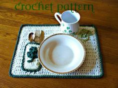 St Patricks crochet Patterns | St Patrick's Day Placemat Crochet Pattern by ... | Crochet St. Patric ...