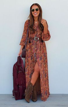 Moda Hippie, Moda Boho, Country Outfits, Boho Outfits, Fashion Outfits, Look Hippie Chic, Bohemian Style, Boho Look, Looks Country