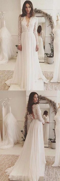 Off White Chiffon Long Sleeves Wedding Dress,Simple A Line V Neck Lace Prom Dress #wedding #prom #dress #longsleeves #offwhite #lace #okdresses