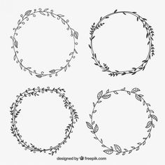 Free vector Hand drawn leaves frames #12289