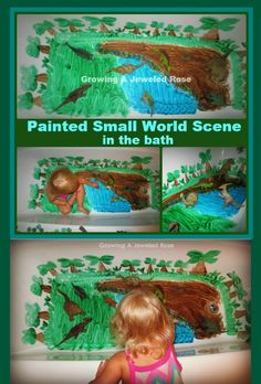 Create a painted small world scene in the bath- So fun, and any mess washes right down the drain at the end of play!!