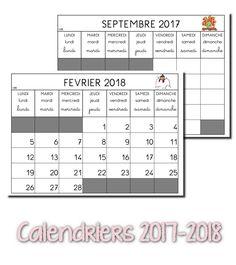 Voici les calendriers de l'année scolaire 2017 - 2018. Merci à Elodie qui m'a fait la mise à jour :) Je les photocopie en A3 pour le...