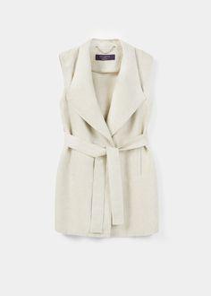 Long linen-blend vest | VIOLETA BY MANGO