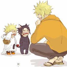 Naruto and Sasuke are trick-or-treating with Minato. Das so cute.