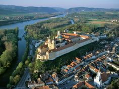 Most scenic stretch of te Danube River: Between the Austrian towns of Melk (where you'll find this monastery) and Krems (23 miles