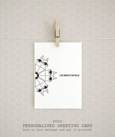 """A personalised greeting card! Get it free with every Organic Cotton t-shirt """"A Fox carousel"""" by Rooftop. Organic Cotton T Shirts, Carousel, Rooftop, Fox, Objects, Greeting Cards, Posters, Messages, Art Prints"""