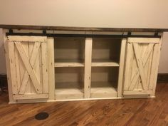 Farmhouse TV Console, Media Console, Rustic TV Stand, TV Console by CMwoodwerks on Etsy https://www.etsy.com/listing/288007777/farmhouse-tv-console-media-console