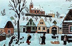 Josef Lada - Děti se sněhulákem 1951, soukromá sbírka Picture Dictionary, Naive Art, Old Houses, Art Pictures, Art Boards, Illustrators, Folk Art, Illustration Art, Artist