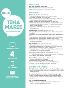 customized resume design / the tina