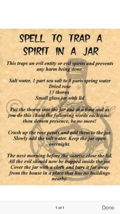 Spell to Trap a Spirit in a Jar, Book of Shadows Spell Page, Witchcraft, Wicca Witchcraft Spell Books, Witch Spell Book, Magick Book, Magick Spells, Curse Spells, Magic Spell Book, Witchcraft Spells For Beginners, Alchemy, Banishing Spell