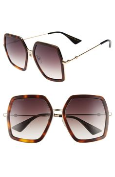 2f98a8851db0 Free shipping and returns on Gucci 56mm Sunglasses at Nordstrom.com.  Polished frames in
