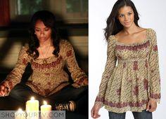 Vampire Diaries (Show, season 1 fashion) Bonnie Bennet (Kat Graham) wears this boho print smocked tunic in this episode of The Vampire Diaries