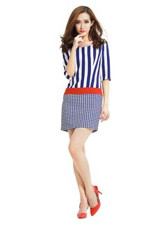 Olyer Women's Strips and Plaid Half Sleeve Dress   Material: Polyester Strips and plaid design Half sleeve