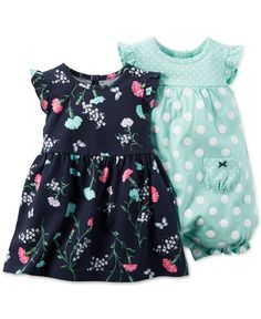 Carter's Baby Girls' 2-Pack Floral-Print Dress & Dot-Print Romper
