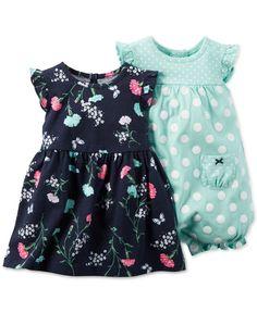 Carter's Baby Girls' 2-Pack Floral-Print Dress & Dot-Print Romper