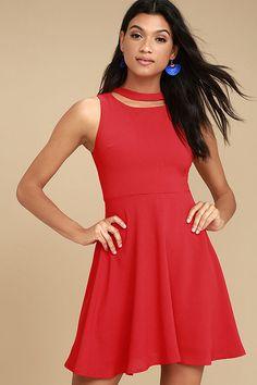 J.O.A. Diana Red Skater Dress