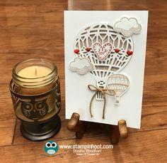 Stampin' Up! Lift Me Up Stamp Set, Up & Away Thinlits Dies, Stampin' Hoot! #hotairballoon #stampinup