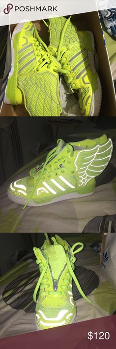 "Jeremy Scott Wings 2.0 ""Neon"" Jeremy Scott Wings 8.5/10 condition Comes with box Adidas Shoes Sneakers"