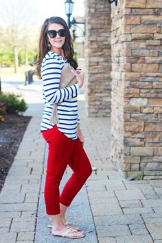 Bright on a Budget: Nautical Lace-Up Top + Red Pants