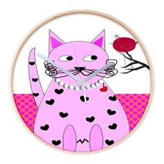 Whimsical Pink Cat and Bird Wall Clock  http://www.cafepress.com/gailgabel.857344064