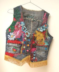 Denim decorated vest Boho clothing gypsy by WILDandROMANTIC