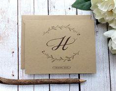 Kraft Thank You Cards  Set of 5  Wedding by SideStreetDesigns