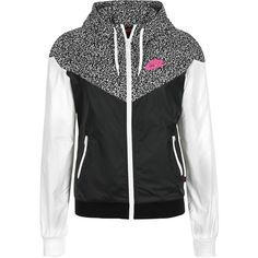 Nike Windrunner AOP W windbreaker black white ❤ liked on Polyvore featuring activewear, jackets, nike activewear, nike and nike sportswear