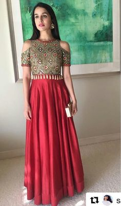 The lovely Shraddha Kapoor looking ethereal in our fresh red chanderi kurta with the Dibbi fringe cold shoulder jacket at her Bffs Mehndi! Indian Attire, Indian Wear, Indian Outfits, Lehenga Designs, Indian Designer Outfits, Designer Dresses, Indian Gowns Dresses, Bollywood Fashion, Bollywood Actress