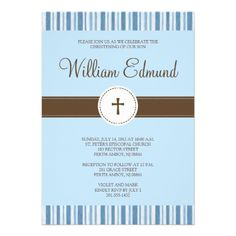 A simple christening invitation featuring striped top and bottom borders. It is completely customizable and can be used for first holy communions and confirmations as well. #christening #baptism #communion #confirmation #religious #christian #baby #stripes #striped #blue
