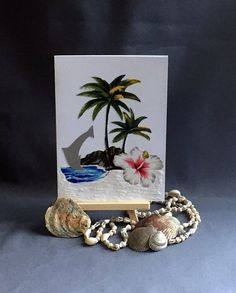 Surf arthandmade recycled fabric greeting by Lovepaperscissors14