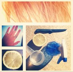 D.I.Y bleaching your hair with lemon juice. 1cup warm water 1cup lemon juice Put in spray bottle Lye in sun/blow dry until completely dry Repeat each day over a few weeks until desired effect