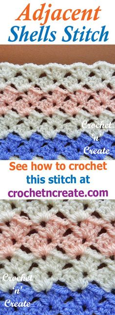 Stitch tutorial, free instructions for adjacent shells #crochet stitch, use for baby items, blankets, throws, cushion covers etc