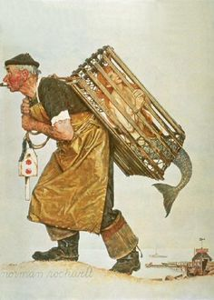 """Norman Rockwell """"Unexpected Catch"""" (1955) I've never seen this Rockwell before!"""