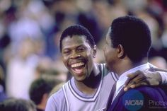 f07e9783b9a 02 APR Georgetown coach John Thompson (R) and center Patrick Ewing after  the NCAA Men s National Basketball Final Four championship game held in  Seattle