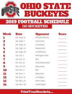 Print Ohio State Buckeyes Season Schedules in . List of University of Ohio State Buckeyes Football Match Ups and games. Who do the Ohio State Buckeyes Play Ohio State Football Schedule, College Football Teams, Ohio Buckeyes Football, Cyo Basketball, Ohio State University, Arkansas, Louisiana, Man Cave, Newark Ohio