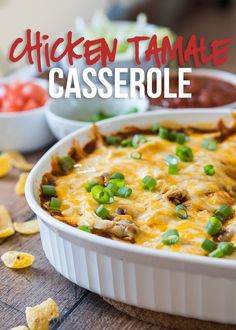 Chicken Tamale Casserole is a quick and easy way to satisfy your craving for authentic Mexican tamales! It's a family favorite! Chicken Potato Casserole, Tamale Casserole, Easy Casserole Dishes, Chicken Potatoes, Casserole Recipes, Noodle Casserole, Cooking Chicken To Shred, How To Cook Chicken, Enchilada Sauce
