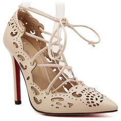 Chic Openwork Carve and Lace-Up Design Women s Pumps USD$21 Shoes Heels 0d51428cc1c5