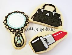 Purse Cookies Lipstick Cookies and Mirror Cookies by rollinindough