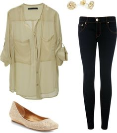 Button up with skinny jeans and flats