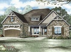 English Cottage House Plan with 2083 Square Feet and 4 Bedrooms from Dream Home Source | House Plan Code DHSW64219